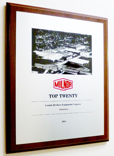loomis bros awarded 3rd place in world wide milnor sales